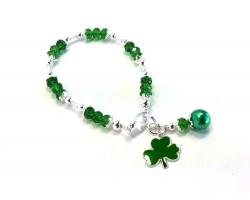 Green Clover Charm Crystal Bracele