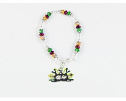 Mardi Gras Mask Feather Charm Crystal Bracelet