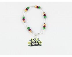 Mardi Gras Mask Feather Charm Crystal Bracelet