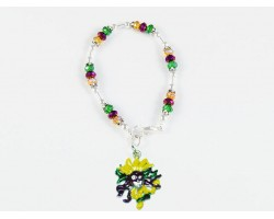 Mardi Gras Head Mask Feather Charm Crystal Bracelet