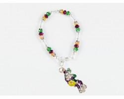Mardi Gras Man Stick Charm Crystal Bracelet