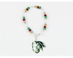 Mardi Gras Mask Feathers Charm Crystal Bracelet