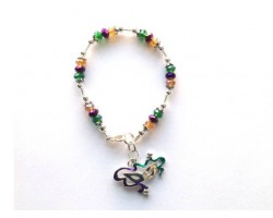 Mardi Gras Crystal Silver Bracelet With Mask