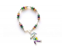 Mardi Gras Man Umbrella Charm Crystal Bracelet