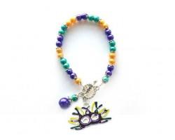 Mardi Gras Mask Feathers Pearl Bracelet