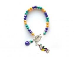 Mardi Gras Man Stick Charm Pearl Bracelet