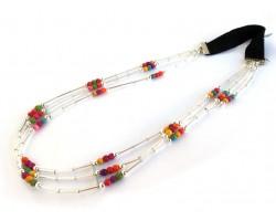 Multi Bead Liquid Silver 3 Line Stretch Headband