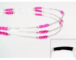 Pink Bead Liquid Silver 3 Line Stretch Headband