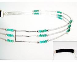 Turquoise Bead Liquid Silver 3 Line Stretch Headband