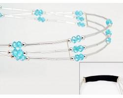 Aqua Crystal Liquid Silver 3 Line Stretch Headband