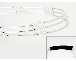 Clear Crystal Liquid Silver 3 Line Stretch Headband