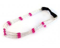 Fuchsia Crystal Liquid Silver 3 Line Stretch Headband