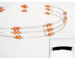 Hyacinth Crystal Liquid Silver 3 Line Stretch Headband