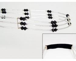 Jet Crystal Liquid Silver 3 Line Stretch Headband