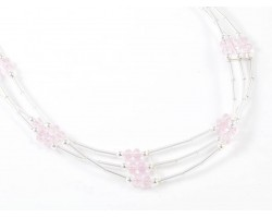 Light Rose Crystal Liquid Silver 3 Line Stretch Headband
