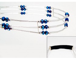 Met Blue Crystal Liquid Silver 3 Line Stretch Headband