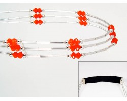 Orange Crystal Liquid Silver 3 Line Stretch Headband