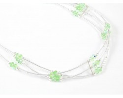 Peridot Crystal Liquid Silver 3 Line Stretch Headband