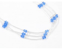 Sapphire Crystal Liquid Silver 3 Line Stretch Headband