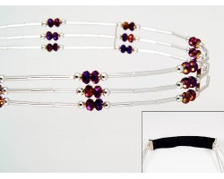 Volcano Crystal Liquid Silver 3 Line Stretch Headband