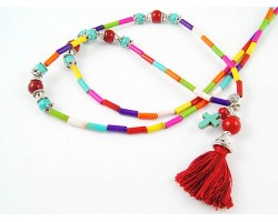 Dark Multi Dyed Stone Tube Tassel Necklace
