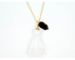 White Tassel Gold Chain Necklace