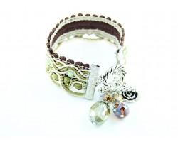 Peridot Brown Beige Brocade Crystal Wave Bracelet