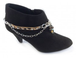 Leather Leopard Crystal Chain Shoe Boot Jewelry