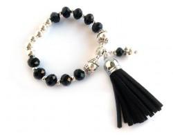 Black Crystal Silver Tassel Charm Bracelet