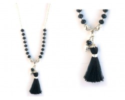 Black Crystal Silver Rolo Chain Tassel Charm Necklace