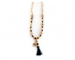Gold Black Fleur de Lis Black Tassel Charm Necklace
