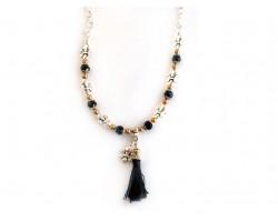 Silver Black Fleur de Lis Black Tassel Charm Necklace