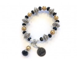Black Gold Silver Water Meter Charm Stretch Bracelet