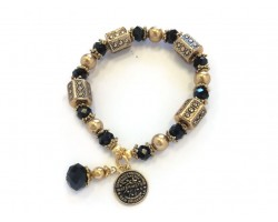 Black Gold Water Meter Charm Stretch Bracelet