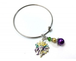 Mardi Gras Mask Charm Wire Bangle