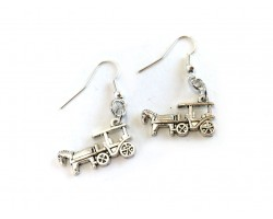 Silver Horse Cart Buggy Hook Earrings