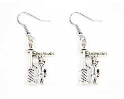 Silver Man at Street Post Hook Earrings