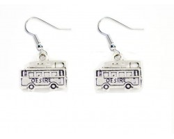 Silver Cable Car Trolley Hook Earrings