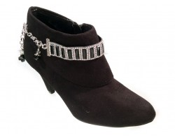 Black Vertical Rectangles Crystals Shoe Boot Jewelry