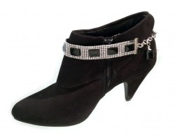 Black Long Ways Faceted Rectangle Shoe Boot Jewelry