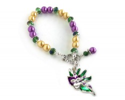 Mardi Gras Bead Feather Mask Bracelet