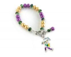 Mardi Gras Umbrella Man Bead Bracelet