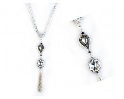 Silver Teardrop Clear Crystal Metal Tassel Necklace