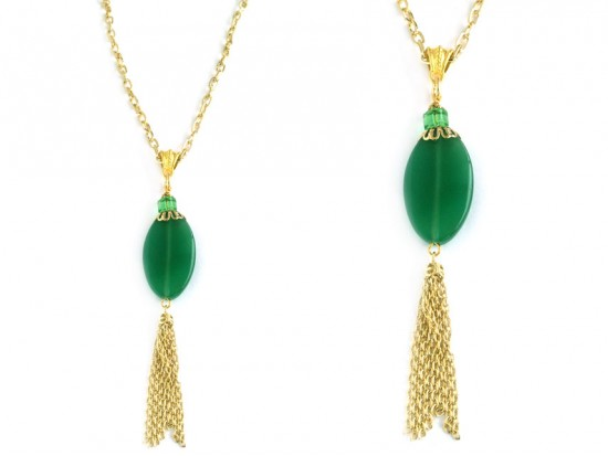 Emerald Green Vintage Onyx Stone Chain Necklace