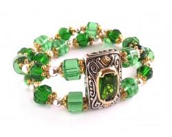 Emerald Green Crystal Designer Stretch Bracelet