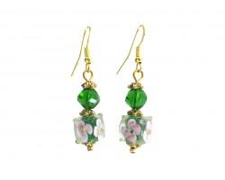 Green Hand Blown Glass Floral Cube Hook Earrings