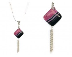 Black Onyx Striped Fuchsia Diamond Tassel Necklace