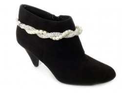 Silver Pearl Crystal Wire Mesh Boot Jewelry
