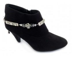 Gray Leather Black Diamond Rose Shoe Boot Jewelry
