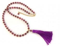 Fuchsia Tassel Gold Stone Bead Necklace